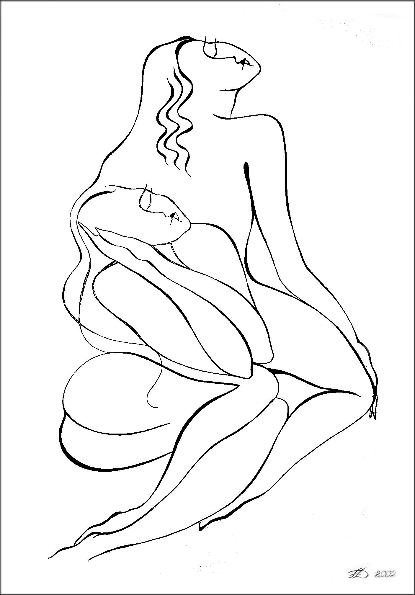 Die Träumende, Tusche (43x61cm)