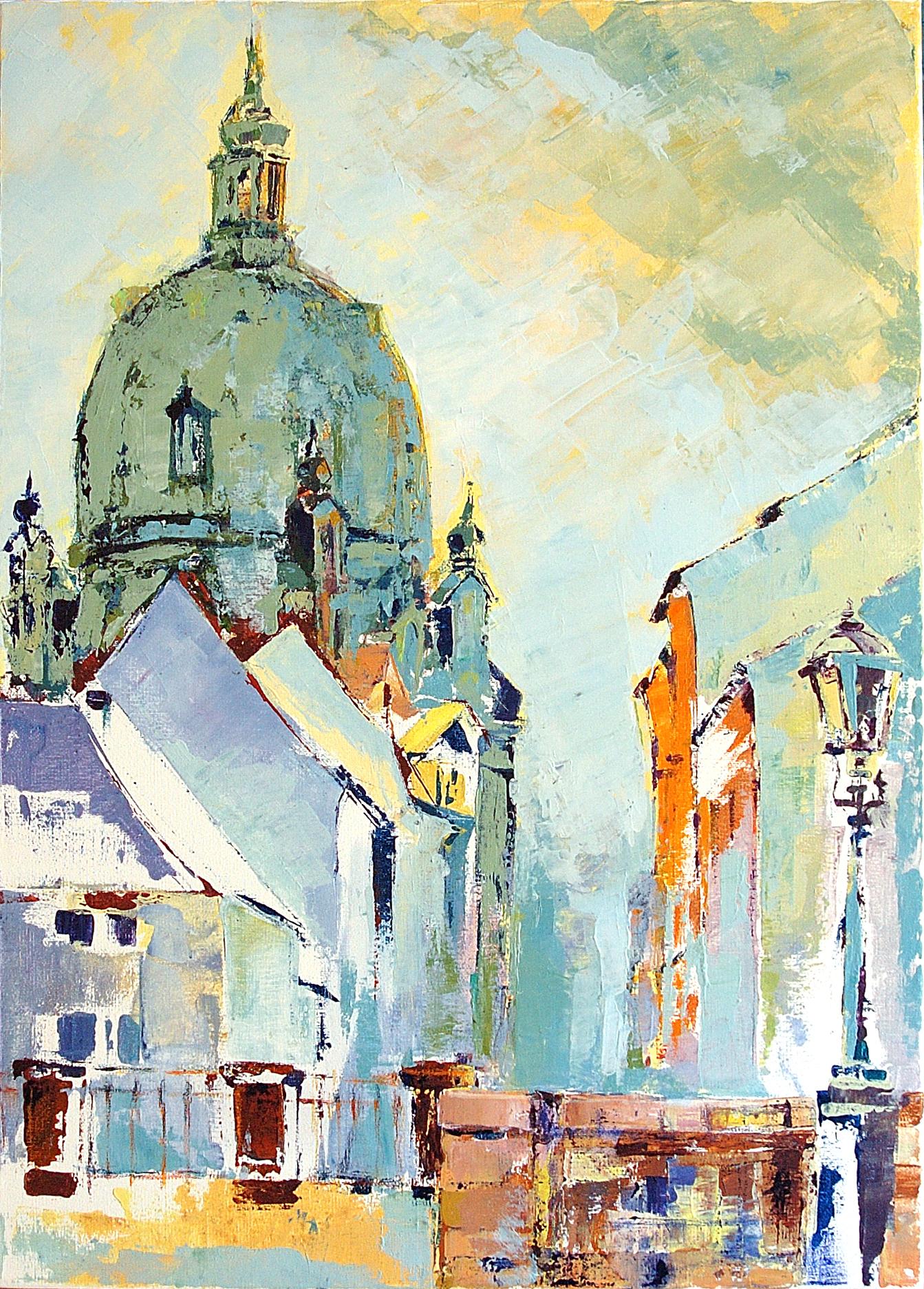 "Dresden ""Frauenkirche"", Öl auf Papier (43x61cm)"