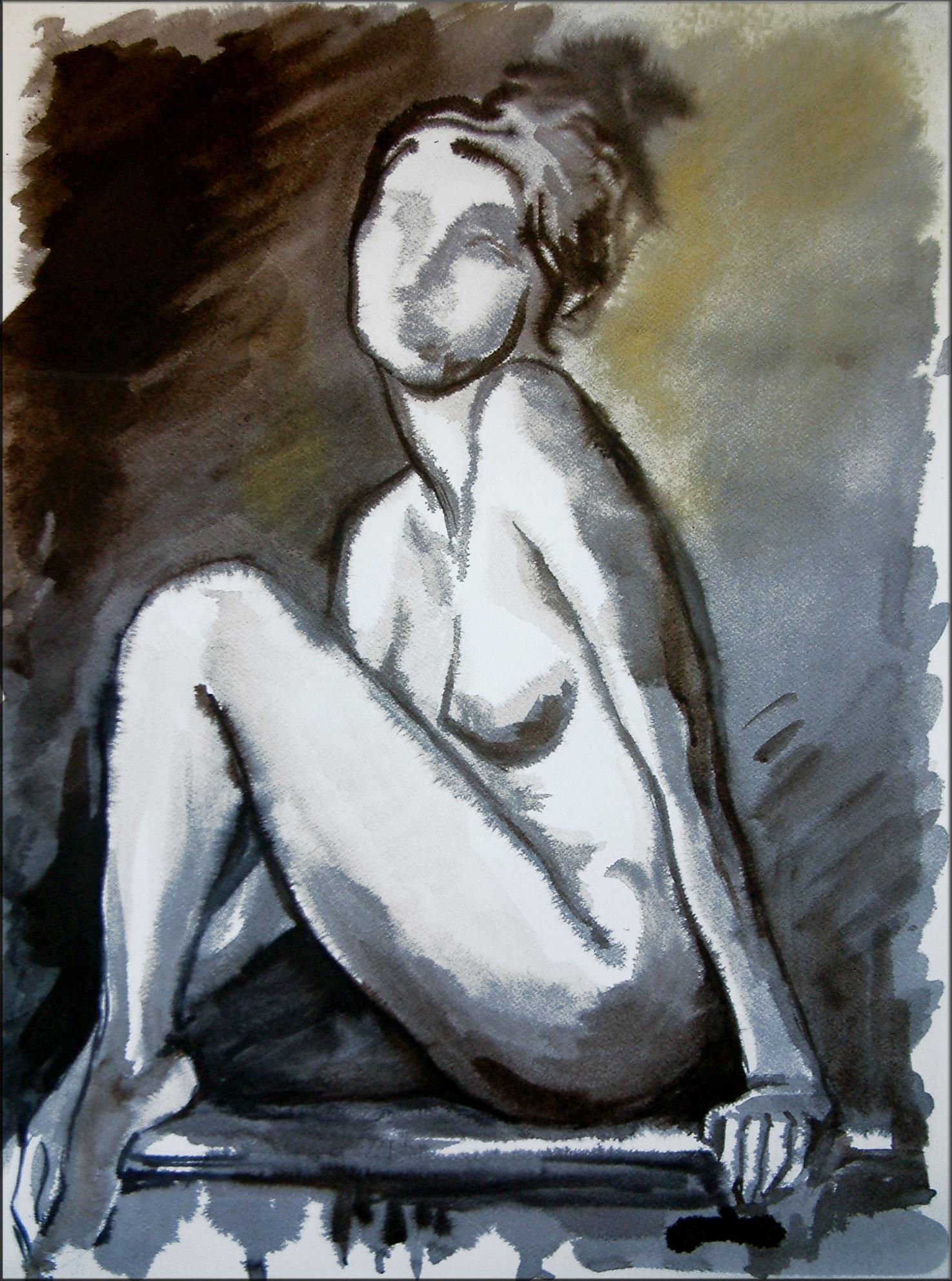 Die Posierende, Tusche (43x61 cm)