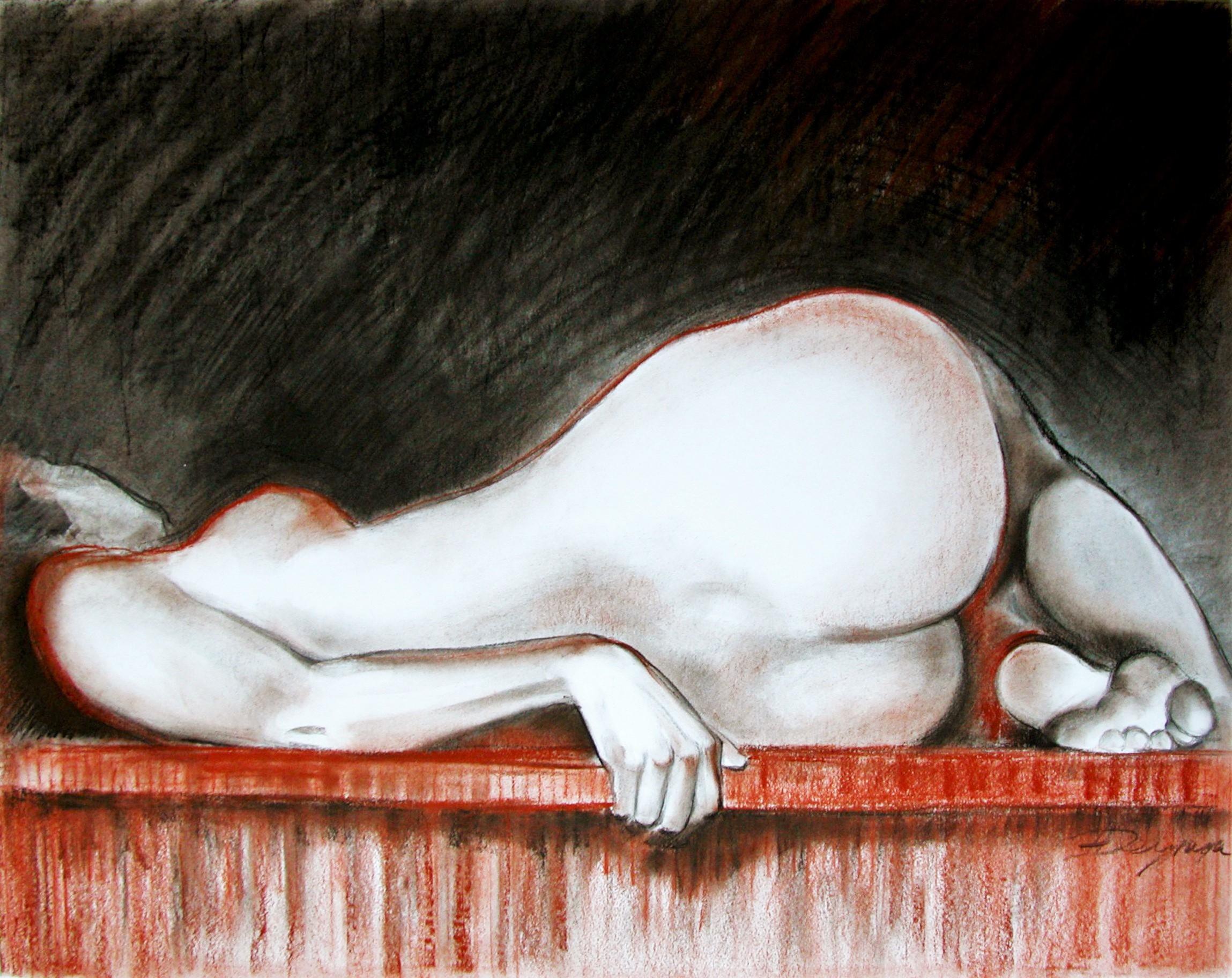 Die Ruhende, Pastell (43x61 cm)